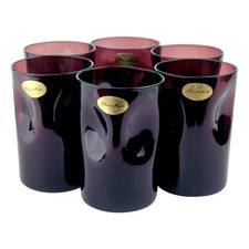 Vintage Amethyst Hand Made Pinched Purple Glass Tumblers