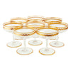 Vintage Gold Band Paneled Cocktail Champagne Coupe Glasses