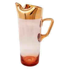 Vintage Hungarian Pink and Gold Cocktail Pitcher | The Hour Shop