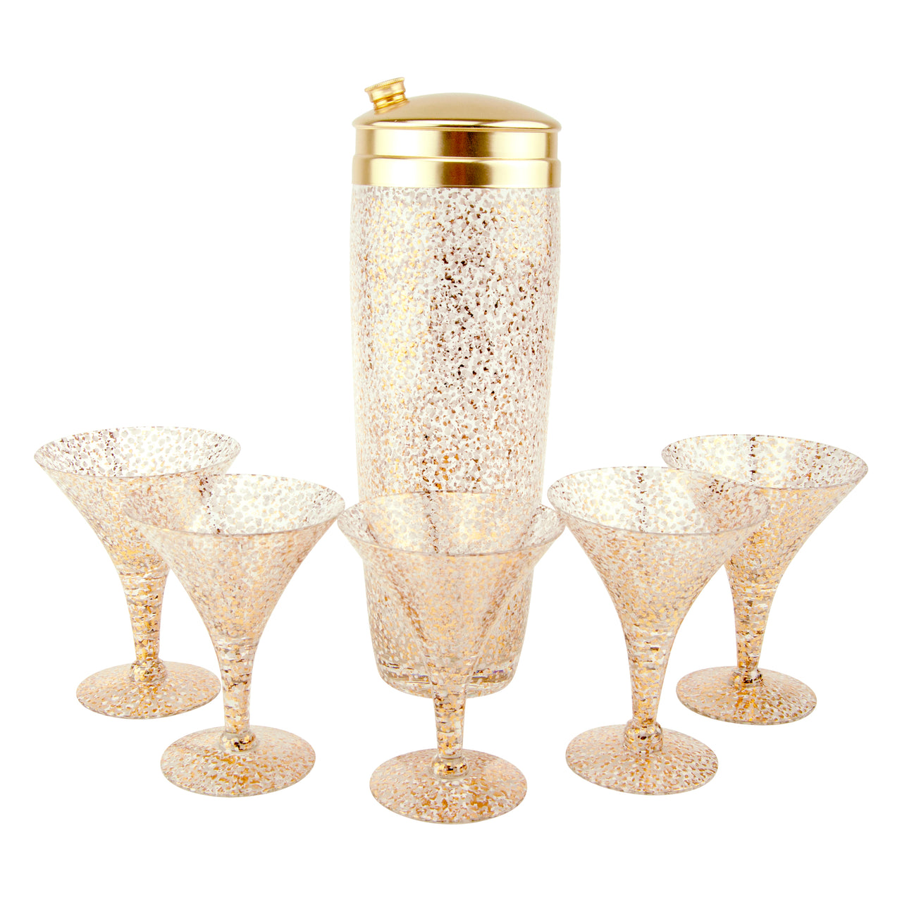 Mid Century Vintage Gold & White Splatter Cocktail Shaker Set