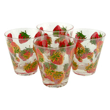 Vintage Georges Briard Strawberry Lg. Old Fashioned Glasses
