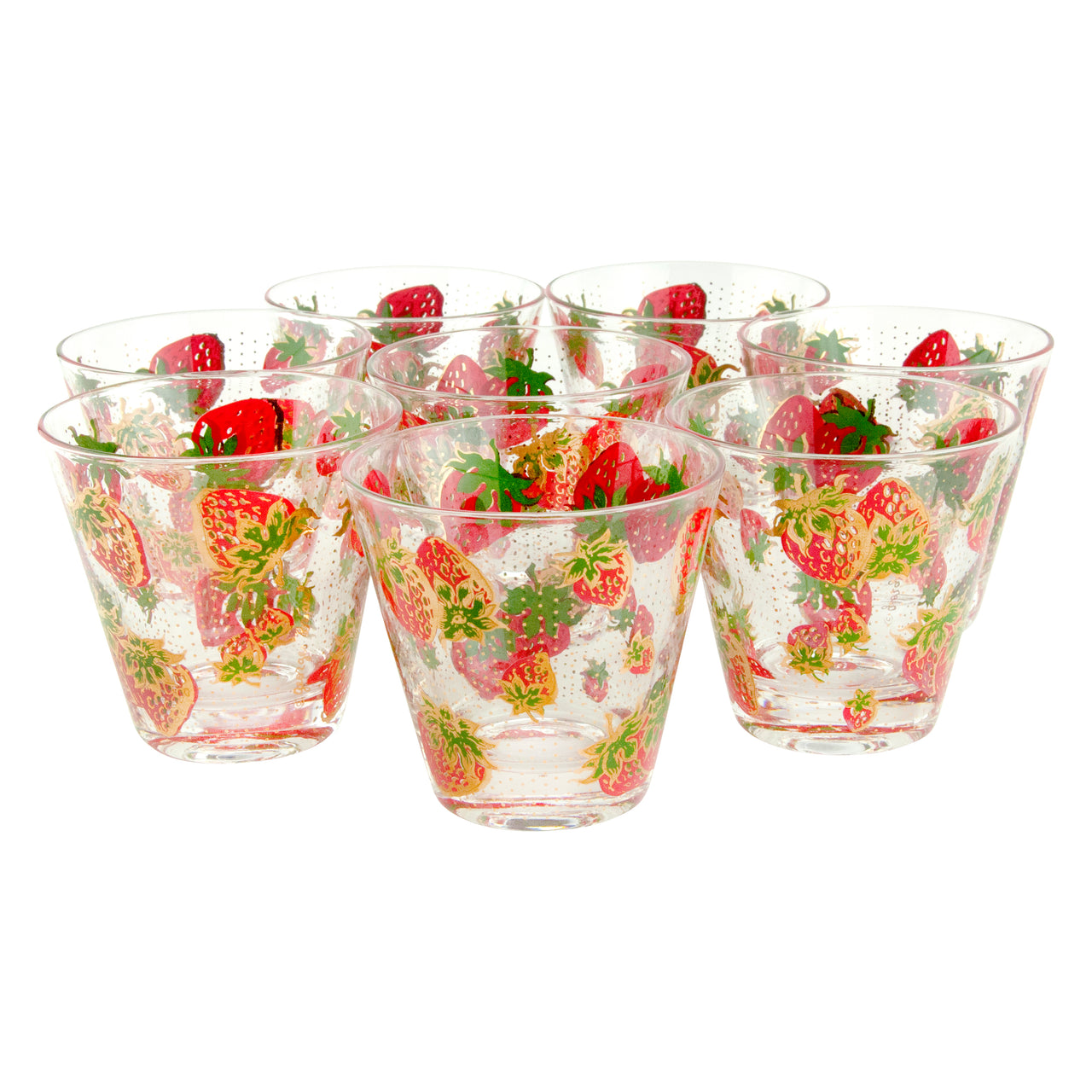 Vintage Georges Briard Strawberry Old Fashioned Glasses