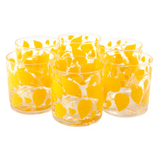 Georges Briard Yellow Leaf Rocks Glasses