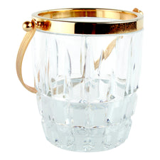 Vintage Gold Handle Mini Cut Crystal Ice Bucket | Home Barware