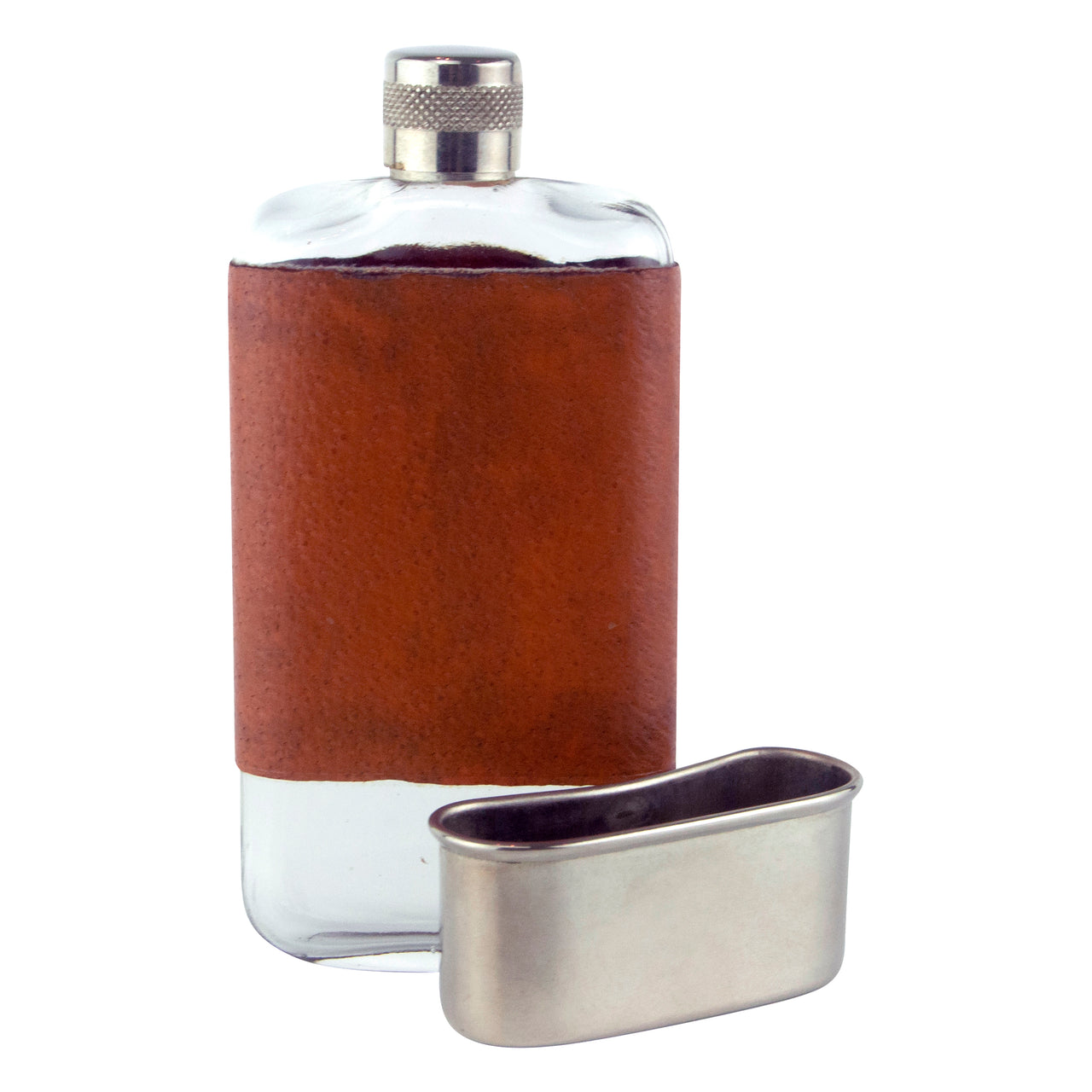 Vintage Leather & Glass Flask With Removable Cup | The Hour