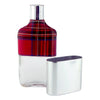Vintage Red Plaid Wrap Glass Flask & Removable Metal Cup