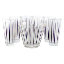 Vintage Black & White Stripe Ice Bucket & Glasses Set | The Hour