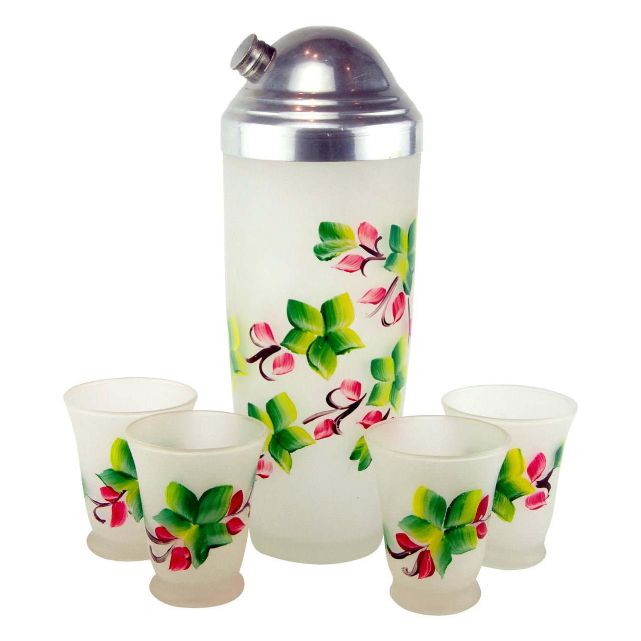 Vitnage Hand Painted Flowers Frost Glass Cocktail Shaker Set