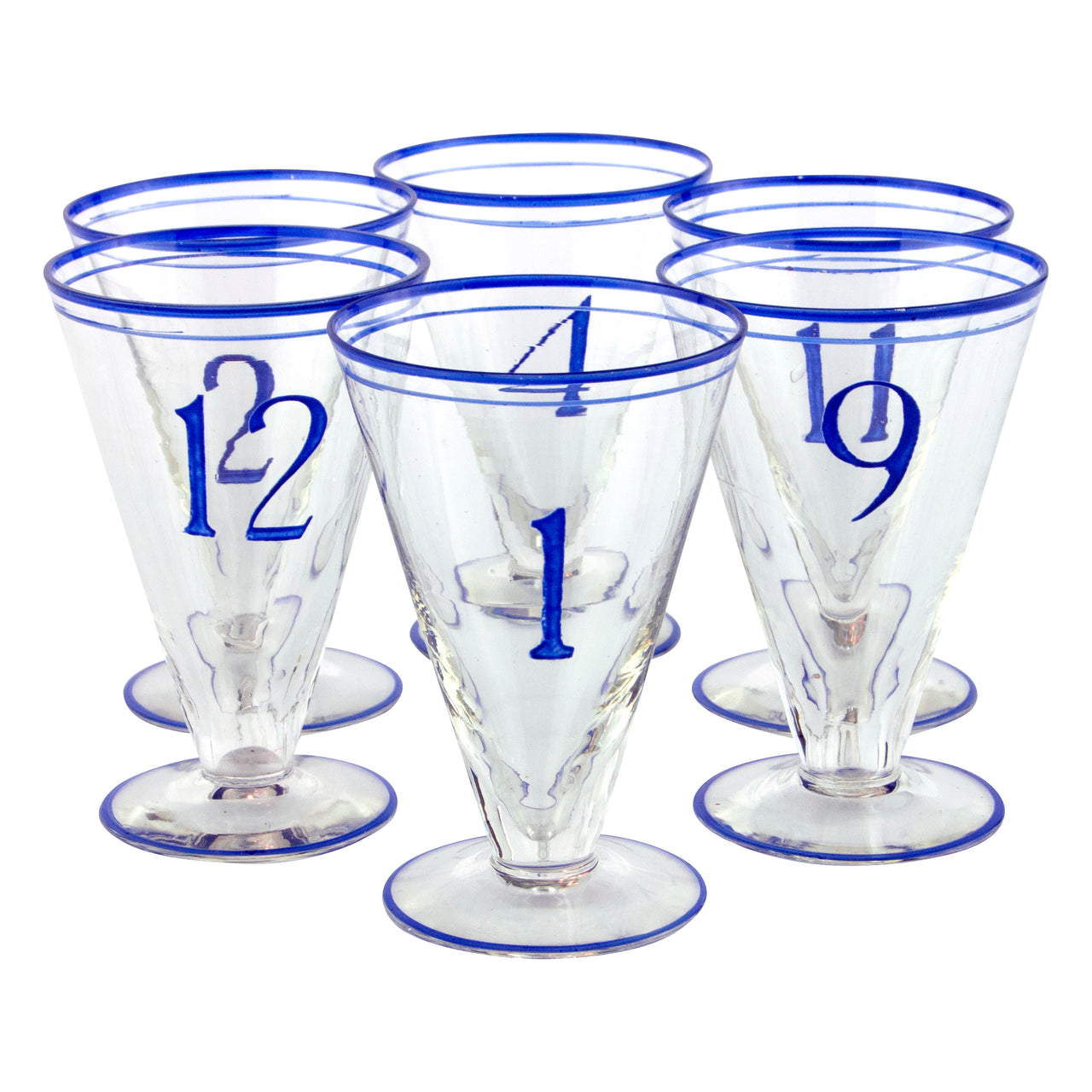 Vintage Blue Art Deco Numbered Cocktail Glasses | The Hour
