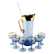 Vintage Blue & Gold Hungarian Cocktail Pitcher Set | The Hour