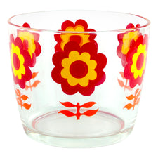 Vintage Red & Yellow Mod Flower Glass Ice Bucket | The Hour