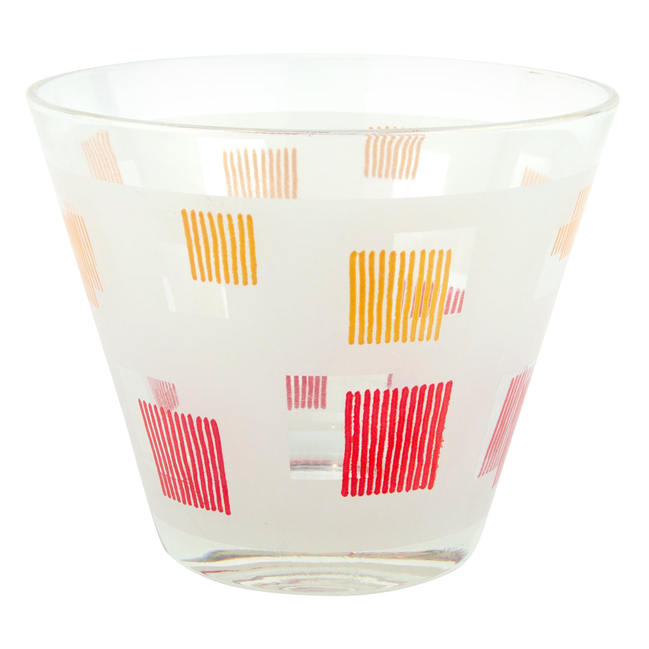 Red Yellow Squares Vintage Glass Ice Bucket | The Hour Barware