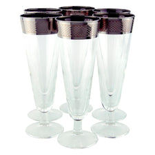 Mid Century Vintage Checkered Mercury Band Pilsner Glasses