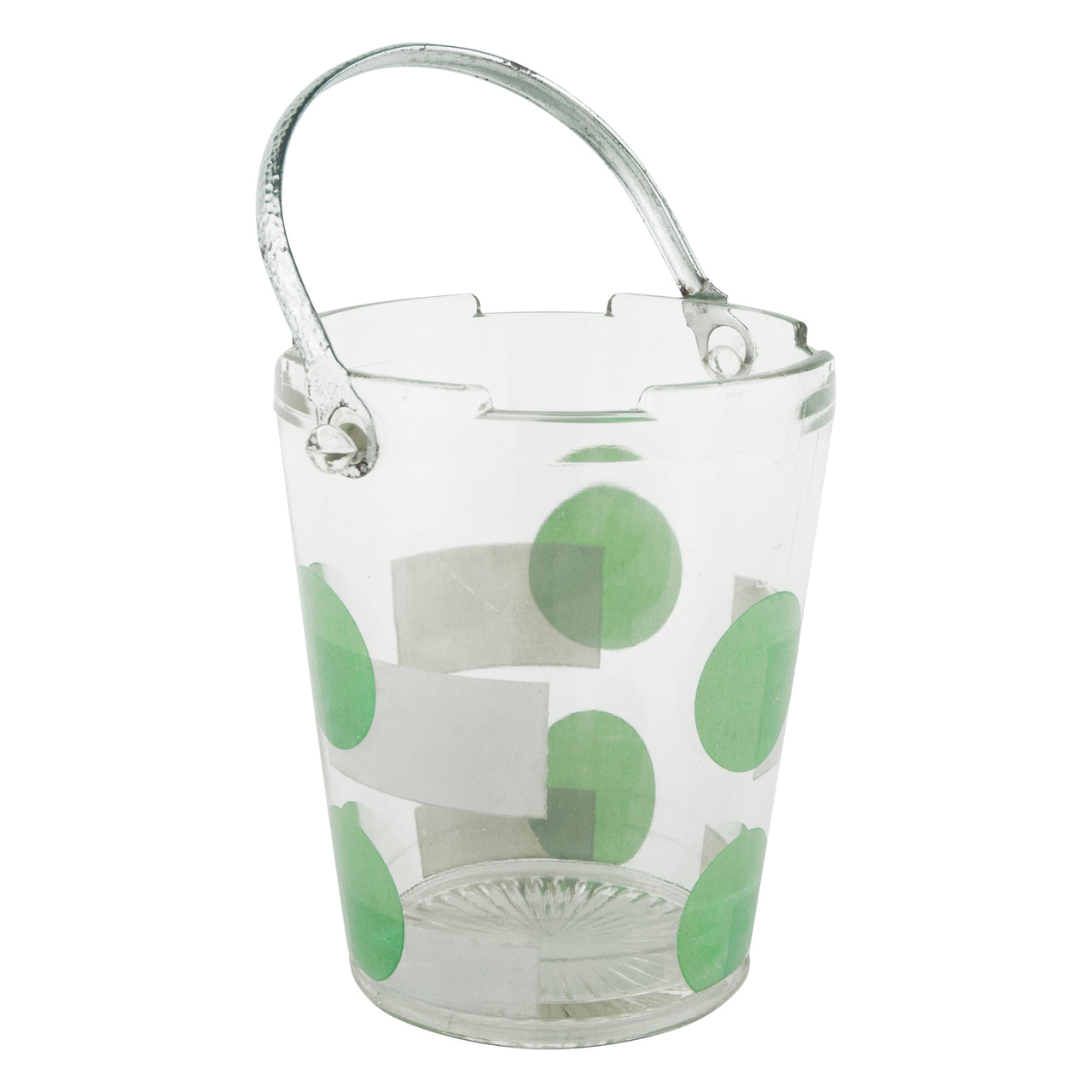Green Dot Vintage Art Deco Glass Ice Bucket | The Hour Barware