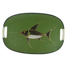 Green Handpainted Swordfish Tray | The Hour Vintage Decor