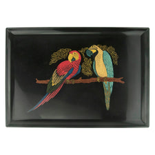 Vintage Couroc Red & Blue Wood & Brass Parrots Tray | The Hour