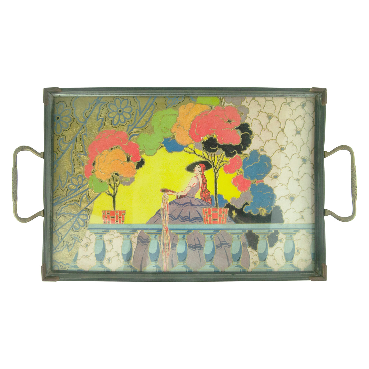 Vintage Woman On Balcony Metal Framed Glass Tray | The Hour