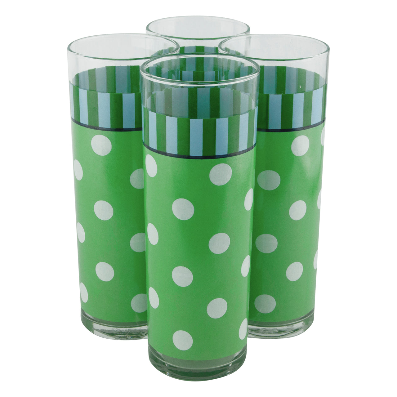 Vintage Green & White Polka Dot Collins Glasses | The Hour