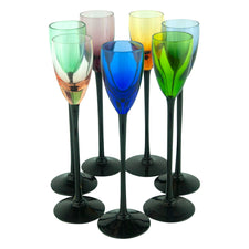 Black Stem Multi Color Cordial Glasses