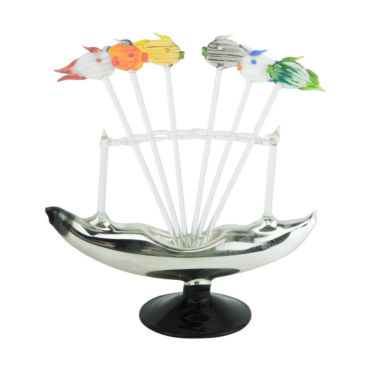 Hand Blown Vintage Glass Fish Cocktail Picks In Boat Stand