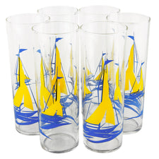 Federal Glass Yellow Sails Blue Boat Collins Glasses