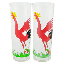 Vintage Federal Glass Black & Red Rooster Collins Glasses | The Hour
