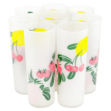 Federal Glass Frosted Fruit Collins Glasses