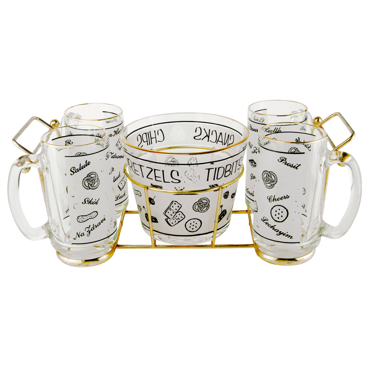 Starlyte Beer Mugs & Pretzel Bowl Caddy Set