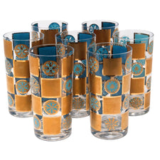 Vintage Gold and Light Blue Snowflake Collins Glasses | The Hour Shop