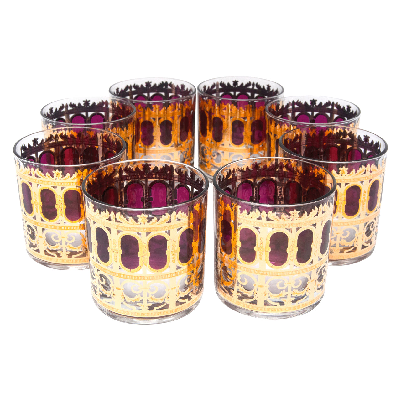 Vintage Culver Cranberry Azure Scroll Rocks Glasses | The Hour