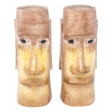 Vintage Mid Century Light Brown Tiki Face Mugs | The Hour Shop