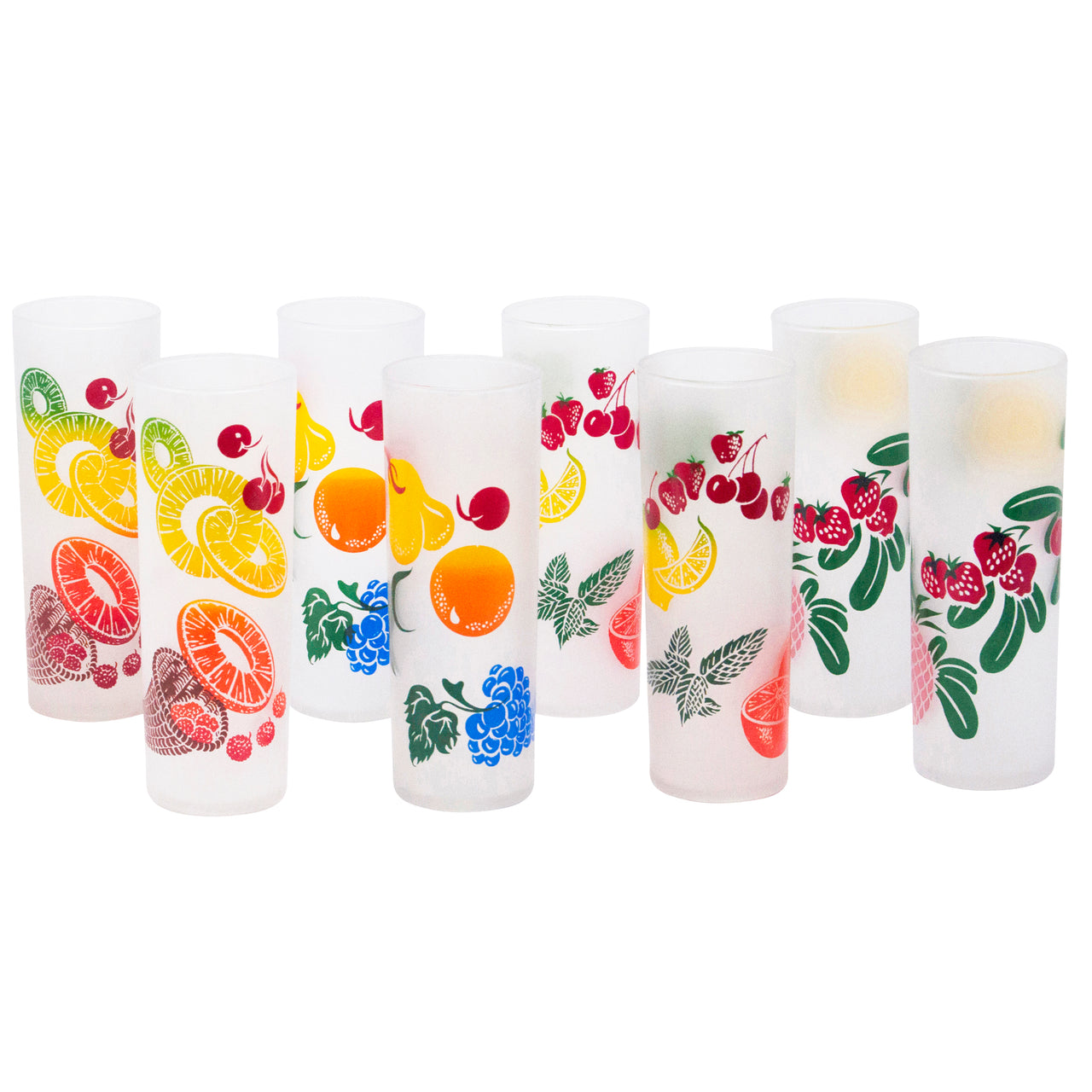 Vintage Federal Glass Frosted Fruit Collins Glasses | The Hour Shop