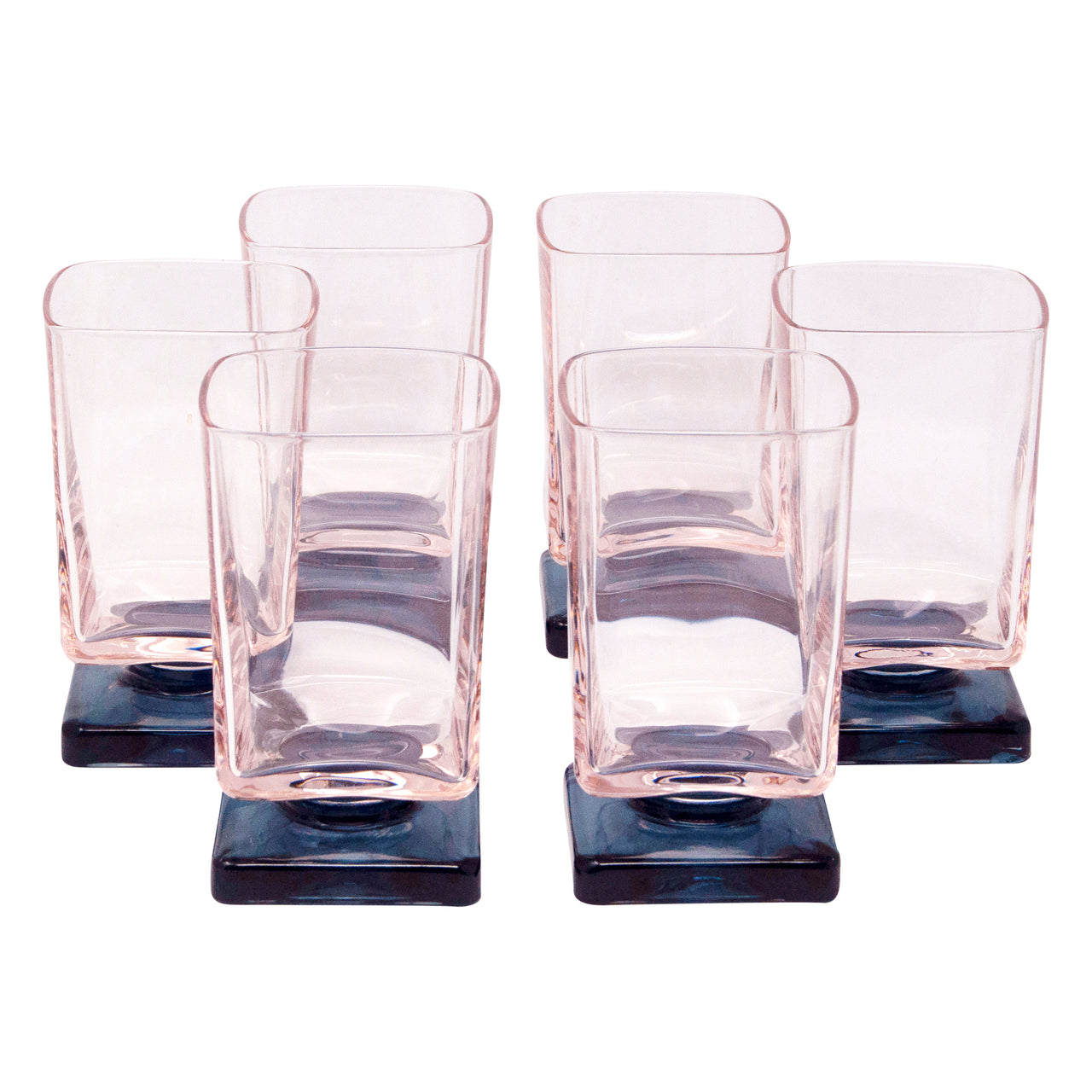 Pink & Blue Square Footed Cocktail Glasses