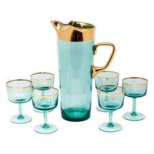 Vintage Hungarian Gold and Aqua Cocktail Pitcher Set | The Hour Shop