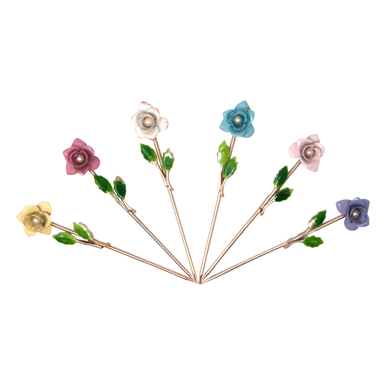 Vintage Pearl Center Multi Color Floral Cocktail Picks | The Hour Shop