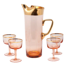 Vintage Pink & Gold Hungarian Cocktail Pitcher Set | The Hour