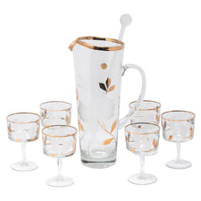 Vintage Frosted & Gold Leaves Cocktail Pitcher Set | The Hour