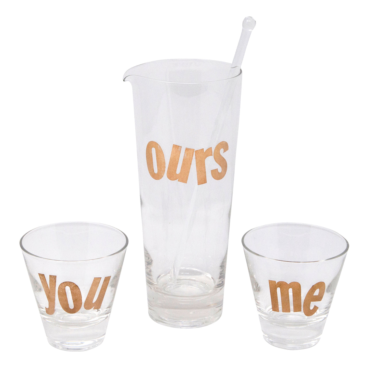 Vintage Gold You Me & Ours Cocktail Pitcher Set | The Hour