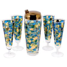 Gold & Multi Color Mosaic Cocktail Shaker Set