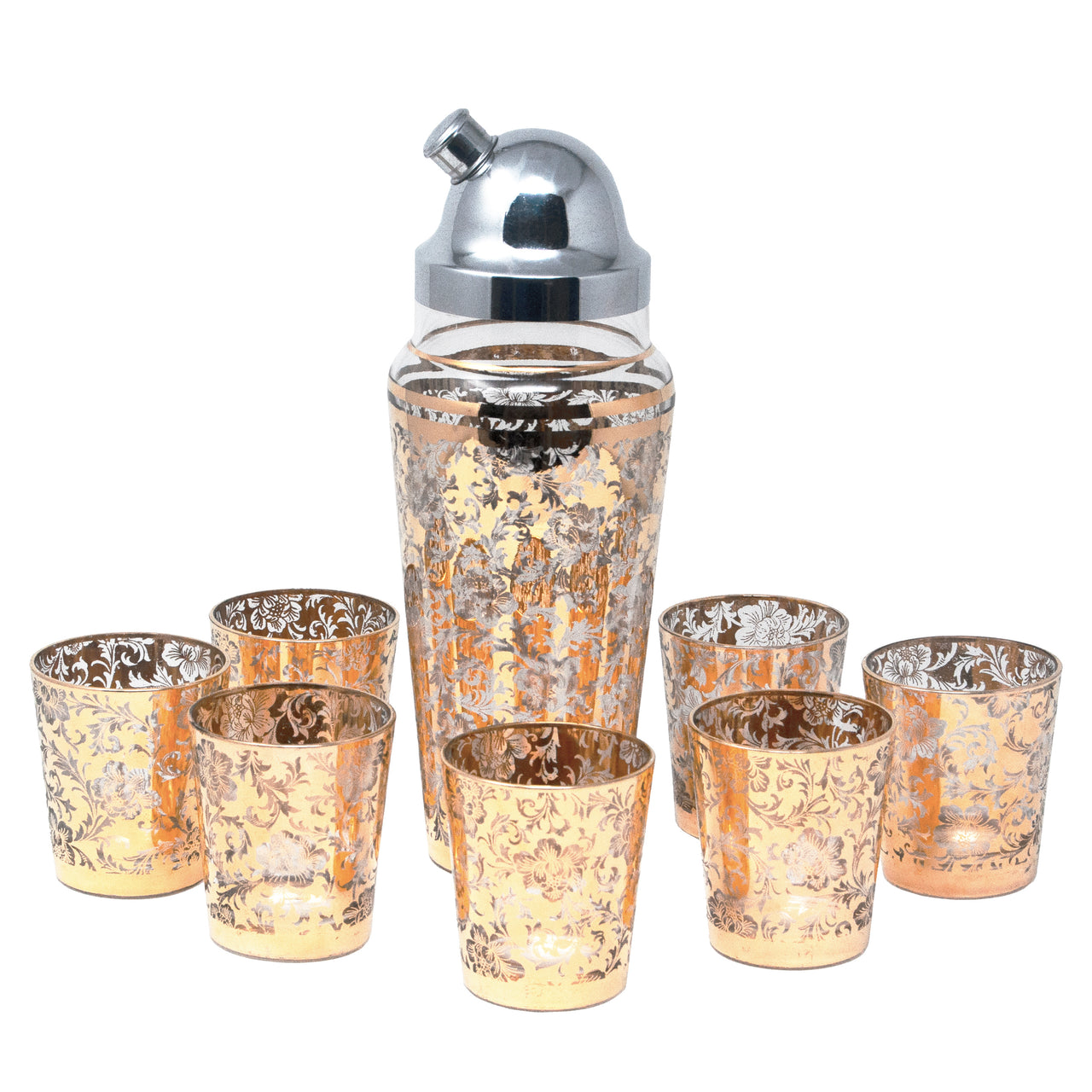 Vintage Gold Floral Cocktail Shaker Set | The Hour