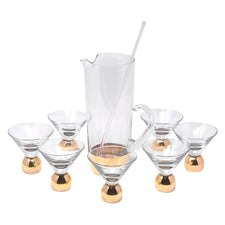 Vintage Gold Base Cocktail Pitcher Set | The Hour