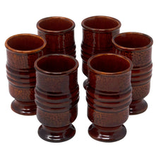 Vintage Mid Century Footed Brown Tiki Mugs | The Hour Shop