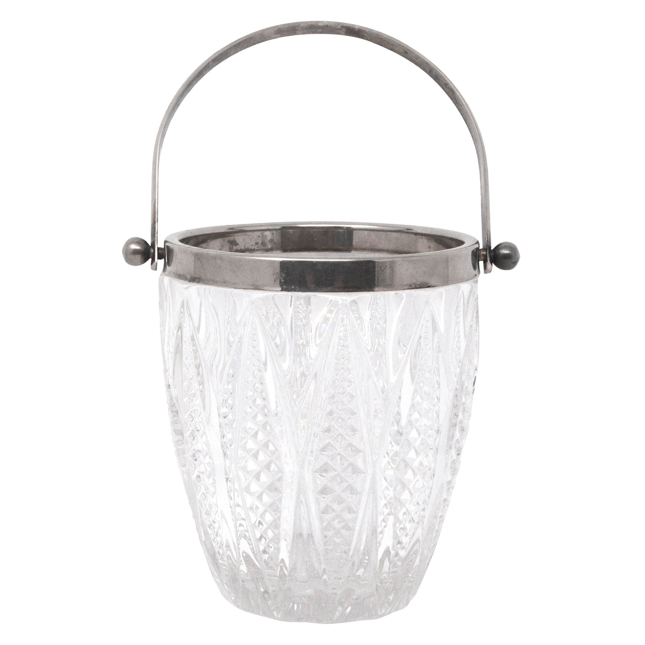 Vintage Cut Diamond Silver Plate Rim Ice Bucket | The Hour Shop