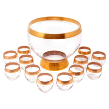 Gold Rim Dorothy Thorpe Punch Bowl Set