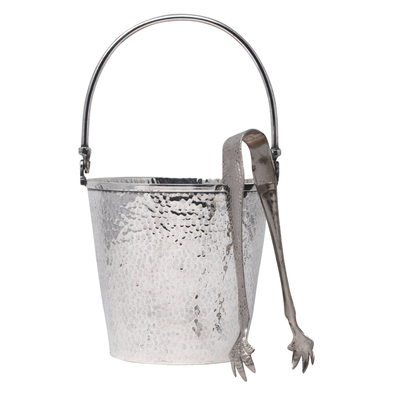 Vintage T & T Hammered Silver Plate Ice Bucket & Tongs | The Hour Shop
