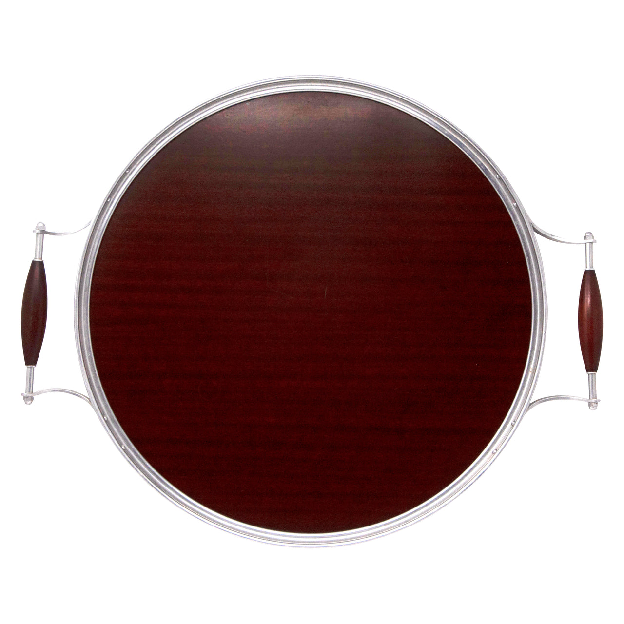 MCM Vintage Round Brown Formica Handled Tray | The Hour