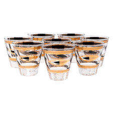 Fred Press Black & Gold Sunburst Eye Single Old Fashioned Glasses