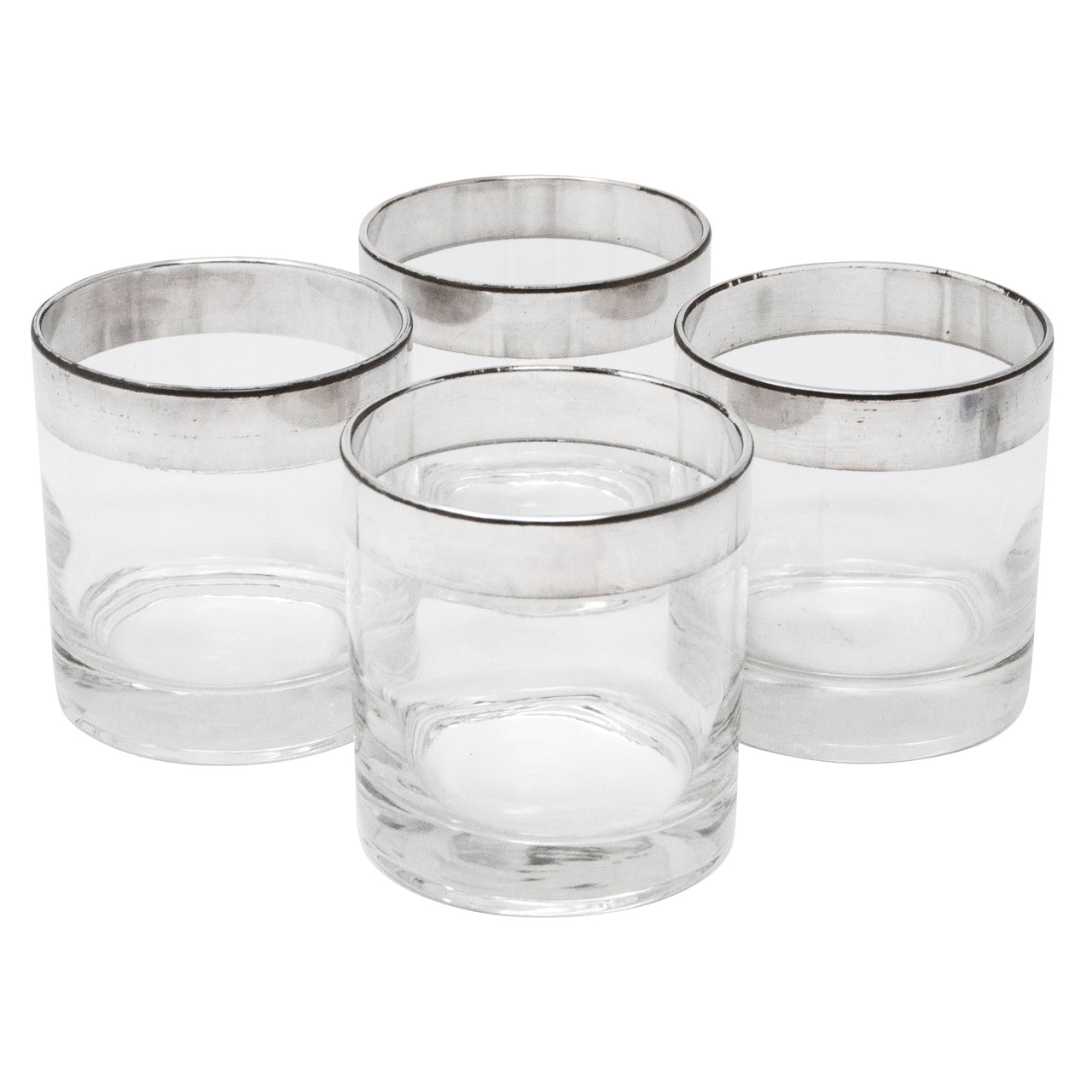 Vintage Dorothy Thorpe Sterling Band Double Rocks Glasses | The Hour Shop