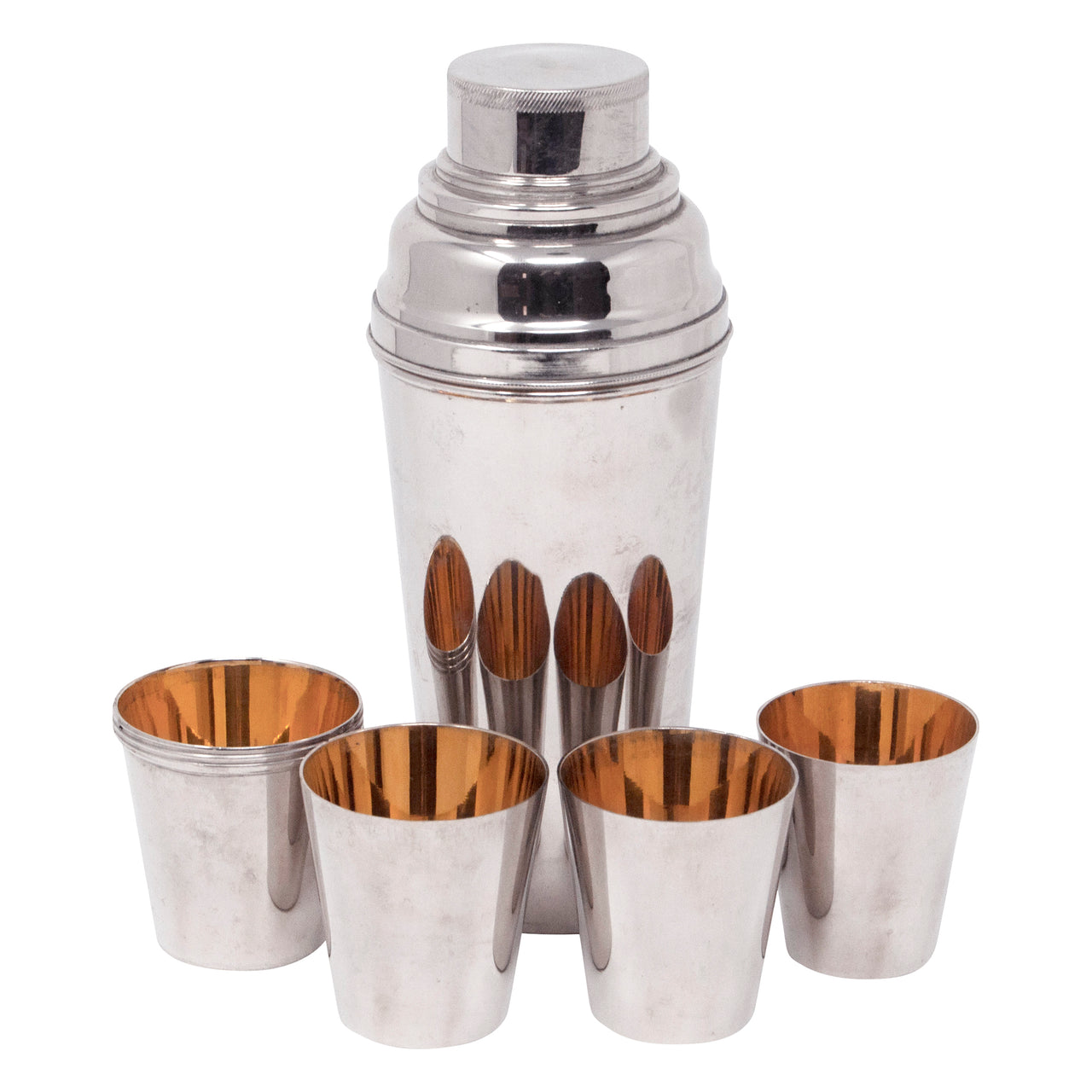 Vintage German Chrome Cocktail Shaker & Nested Shots Set | The Hour