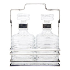 Silver Plate Tantalus Ribbed Decanters Set